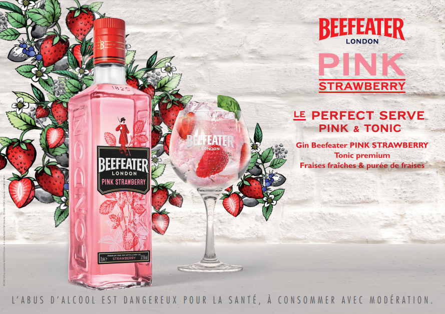 Key visual avec drink strategy de beefeater pink strawberry